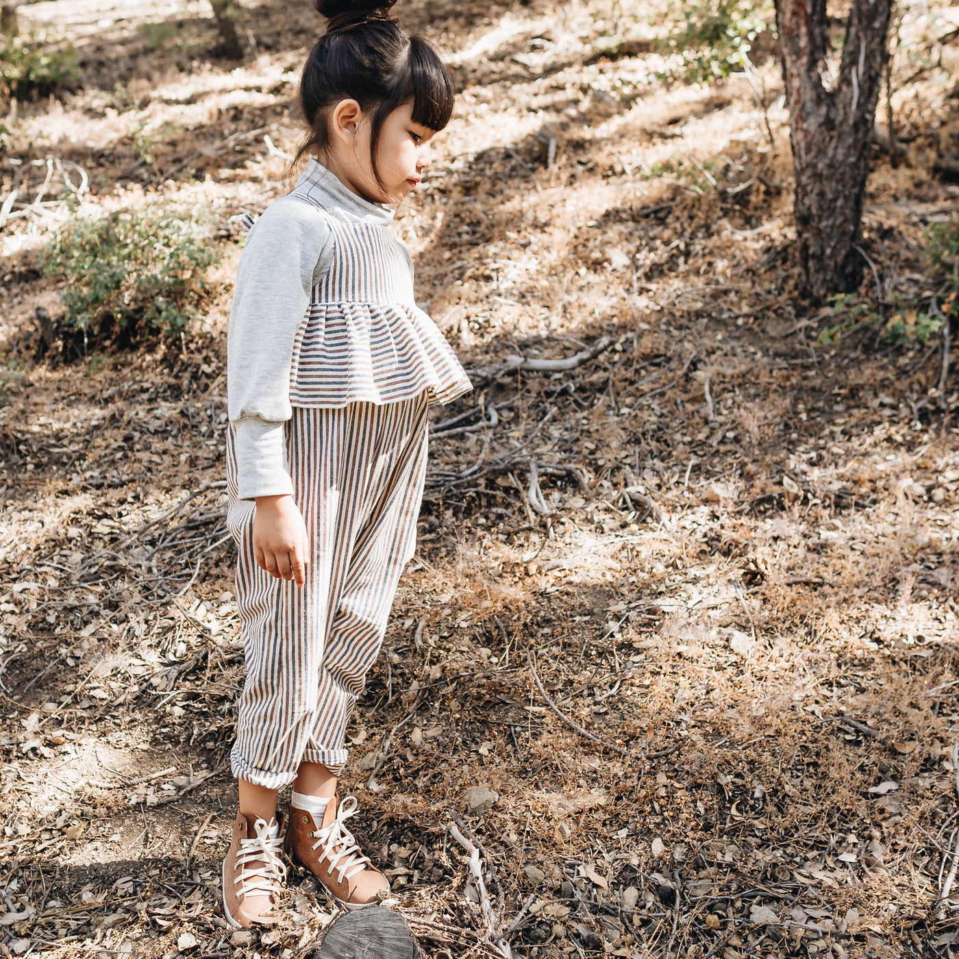 ruffle jumpsuit | rust stripe