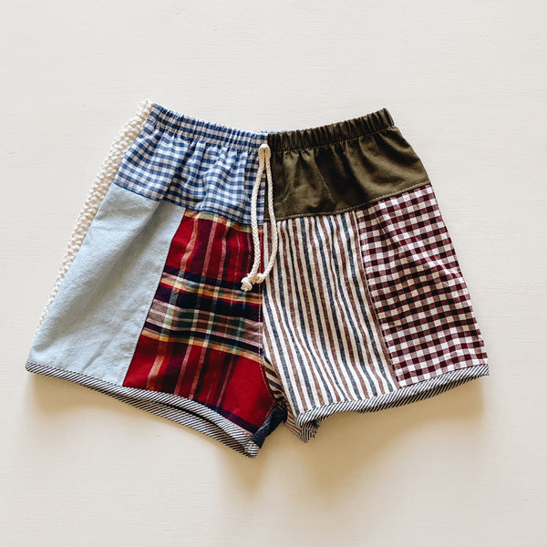 shorts | patchwork olive | size 4/5y