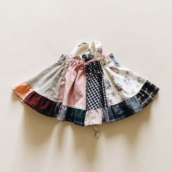 suspender skirt | patchwork light pink | size 2/3y