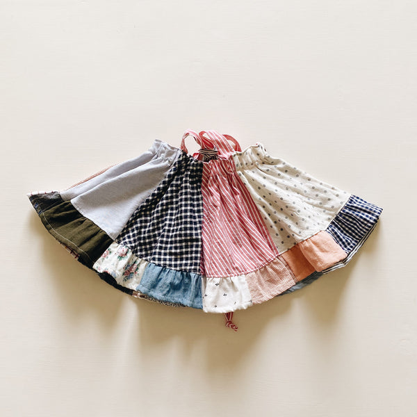 suspender skirt | patchwork pink stripe | size 3/4y