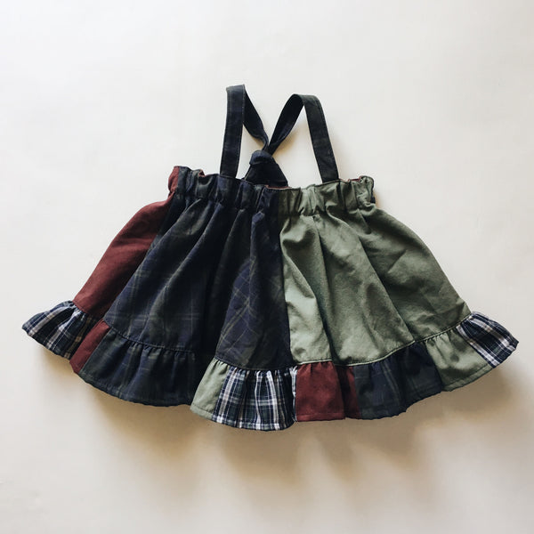 OOAK suspender mini skirt | olive | size 3/4y