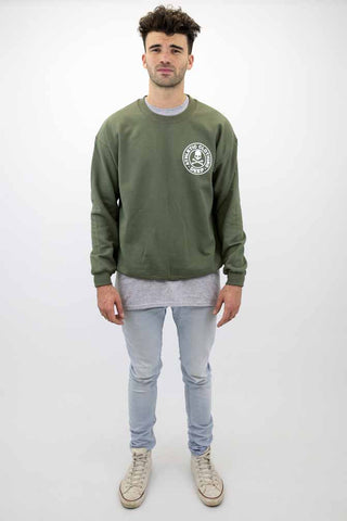 DEEP Athletic Mens Crew Neck Sweatshirt in Olive