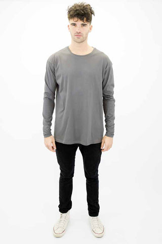 DEEP Basic Mens Oversize Long Sleeve T-Shirt in Charcoal