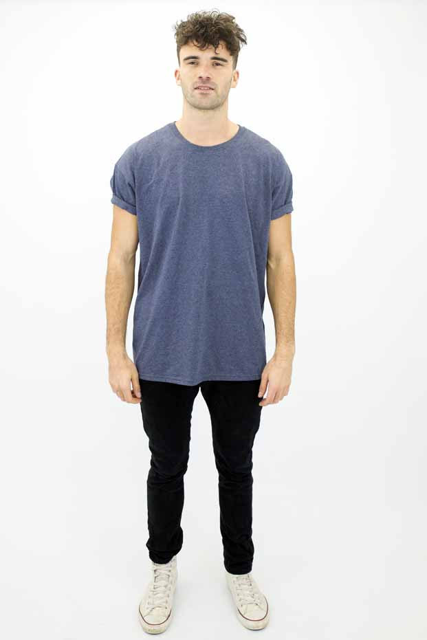 DEEP Basic Mens Oversize Classic T-Shirt in Heather Navy