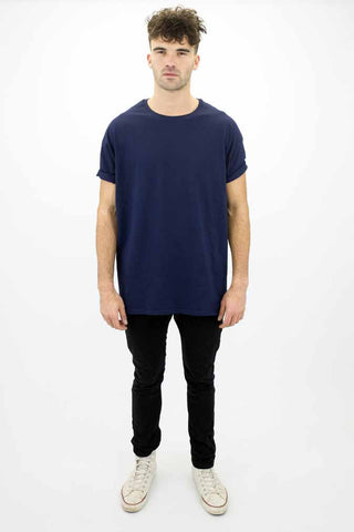 DEEP Basic Mens Oversize Classic T-Shirt in Navy Blue