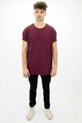 DEEP Basic Mens Oversize Classic Mens T-Shirt in Maroon