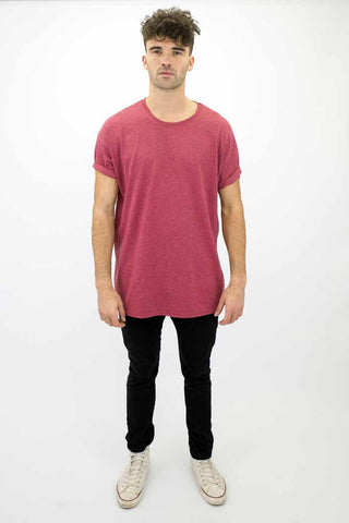 DEEP Basic Mens Oversize Classic T-Shirt in Heather Cardinal.
