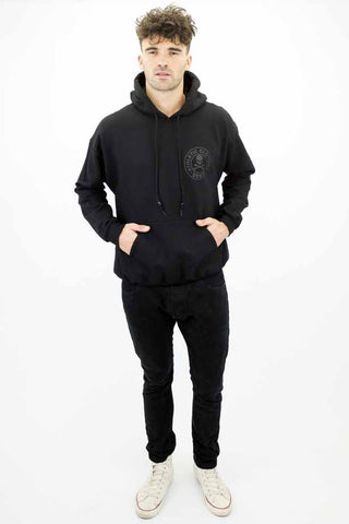 DEEP Athletic Mens Hooded Sweatshirt in Double Black