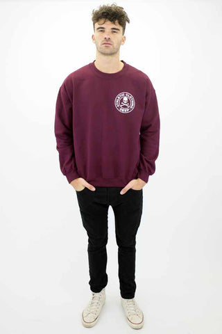 DEEP Athletic Mens Crew Neck Sweatshirt in Maroon