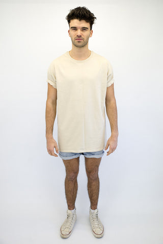 DEEP Basic Mens Oversize Classic T-Shirt in Sand