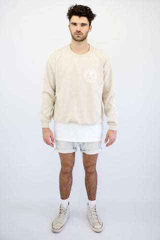 DEEP Athletic Mens Crew Neck Sweatshirt in Sand by DEEP Clothing.