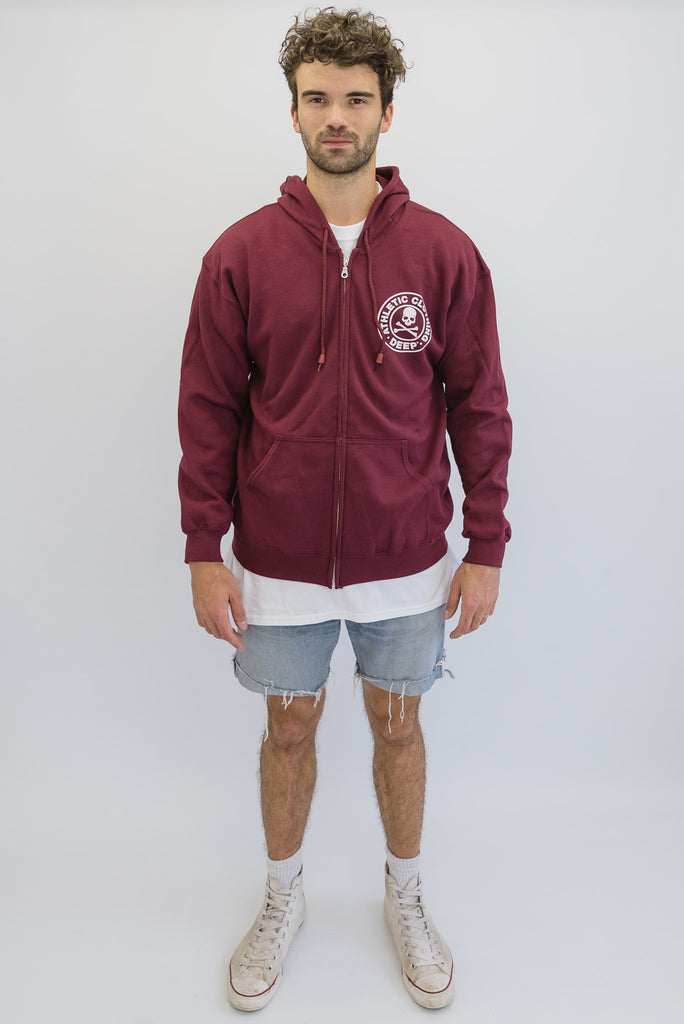 DEEP ATHLETIC Zip Through Hooded Sweatshirt - Maroon