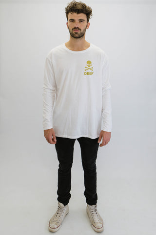 DEEP CROSSBONES Oversize Long Sleeve T-Shirt in White with Gold Print