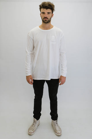 DEEP CROSSBONES Oversize Long Sleeve T-Shirt in White with White Print