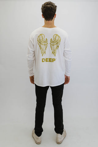 DEEP NO ANGEL Oversize Long Sleeve T-Shirt in White with Gold Print