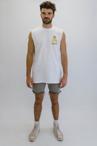 DEEP Crossbones Mens Oversize Crew Neck Sleeveless T-Shirt in White with Gold Print
