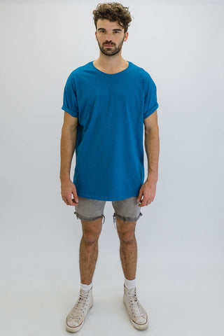 DEEP Basic Mens Oversize Classic T-Shirt in Sapphire