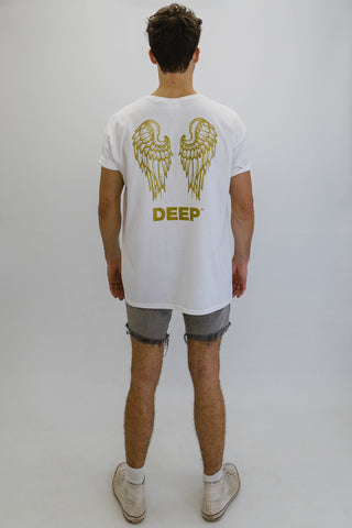 DEEP NO ANGEL Oversize T-Shirt in White with Gold Print