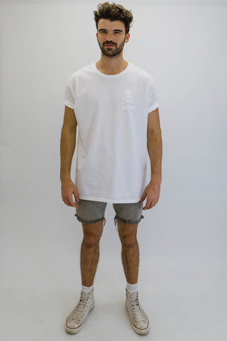 DEEP CROSSBONES Oversize T-Shirt in White with White Print