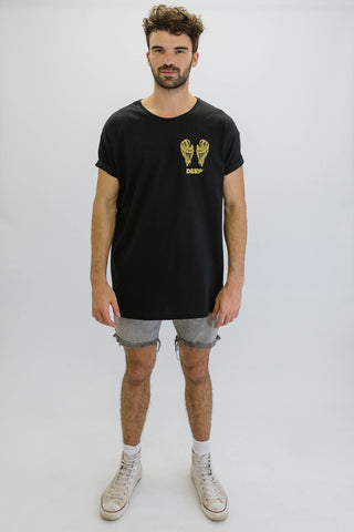 DEEP NO ANGEL Oversize T-Shirt in Black with Gold Print