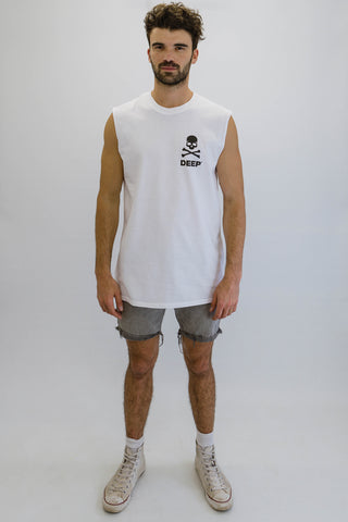 DEEP Crossbones Oversize Crew Neck Sleeveless T-Shirt in White with Black Print