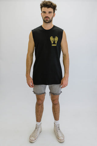 DEEP NO ANGEL Oversize Sleeveless T-Shirt in Black with Gold Print