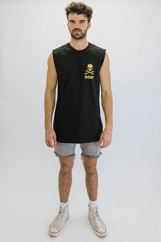 DEEP CROSSBONES Oversize Crew Neck Sleeveless T-Shirt in Black with Gold Print