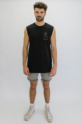 DEEP CROSSBONES Oversize Sleeveless T-Shirt in Black with Black Print