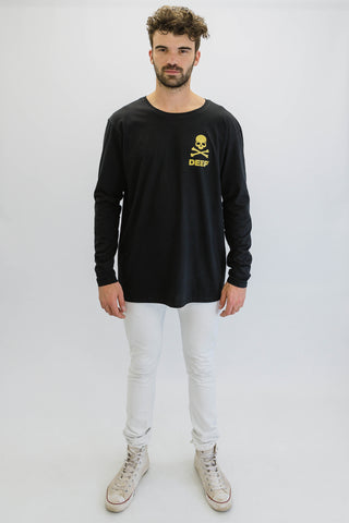 DEEP CROSSBONES Oversize Long Sleeve T-Shirt in Black with Gold Print