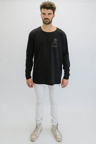 DEEP CROSSBONES Oversize Long Sleeve T-Shirt in Black with Black Print