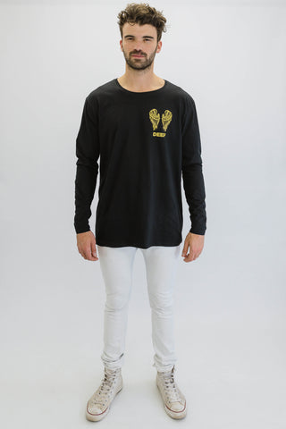 DEEP NO ANGEL Oversize Long Sleeve T-Shirt in Black with Gold Print