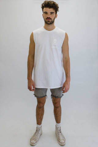 DEEP Crossbones Oversize Crew Neck Sleeveless T-Shirt in White with White Print