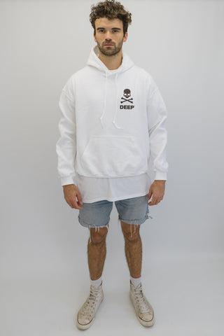 DEEP CROSSBONES Hooded Sweatshirt - White