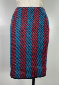 Prada Blue & Red Striped Wool Skirt S