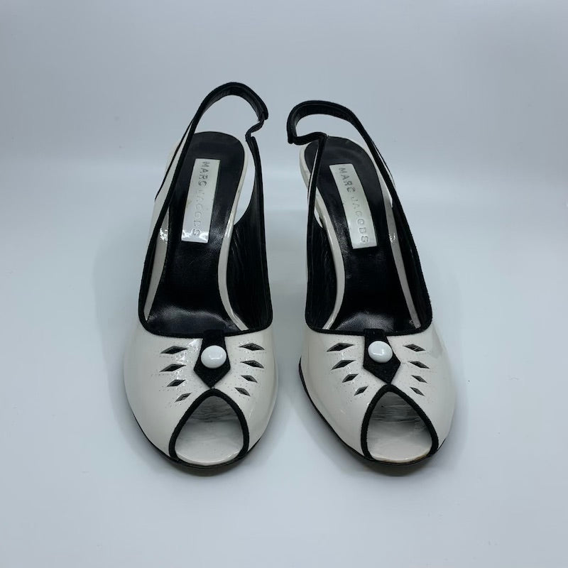 Marc Jacobs White Patent Peep Toes Size 9.5