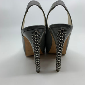 Brian Atwood Grey Patent chain Link Heels Size 10