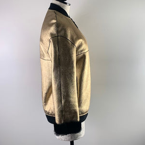 Longchamp Gold & Black Shearling Coat S