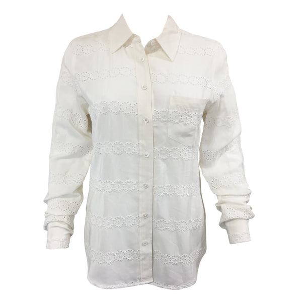 Equipment Lace Silk White Blouse Size XS