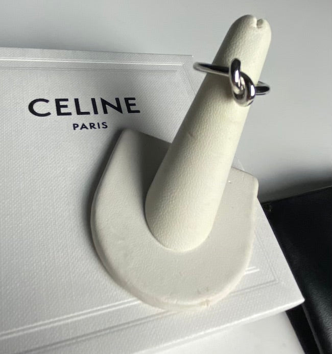 Celine Silver Tone Knot Ring