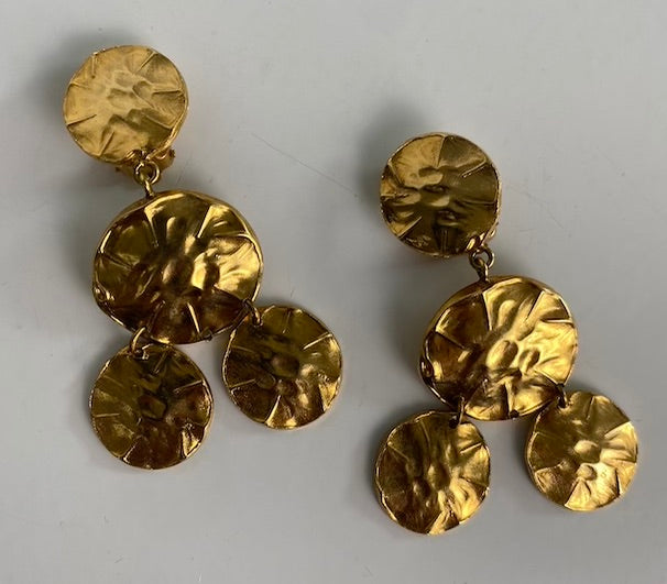 Hammered Gold Tone Clip Earrings