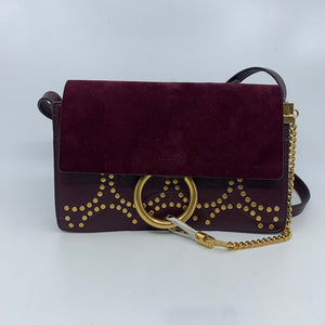 Chloe Burgundy & Gold Messenger Bag