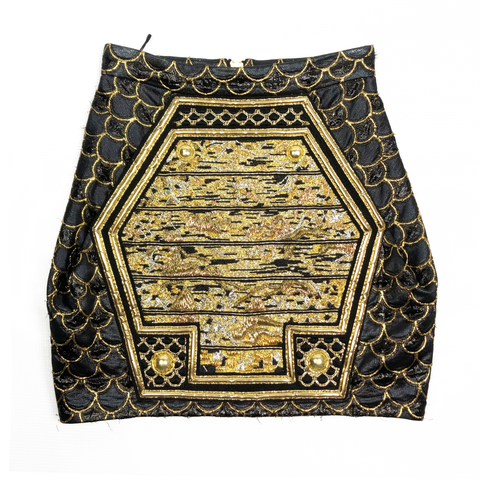 Balmain Black / Gold Beaded Skirt Size XS