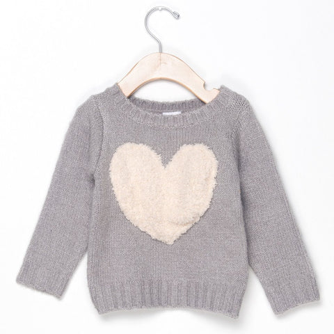 GIRLS SWEATER - GRAY HEART