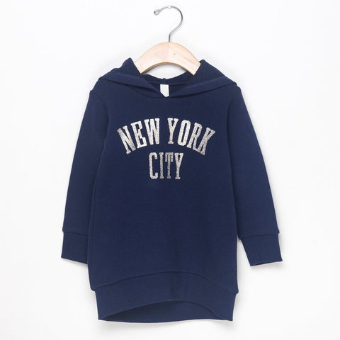 NYC HOODIE DRESS - NAVY BLUE
