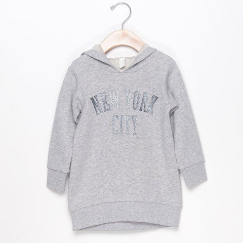 NYC HOODIE DRESS - GRAY
