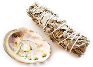 White Sage Bundle with Abalone Shell Mini Smudge Kit