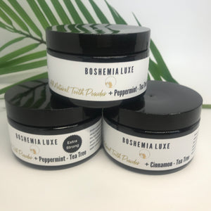 Boshemia Luxe All Natural Tooth Powder - XTRA STRONG Peppermint + Tea Tree