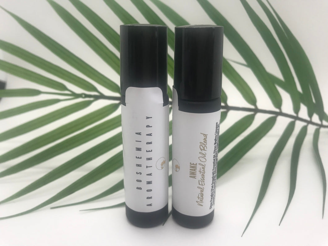 Awake Aromatherapy Essential Oil Blend With A Stainless Steel Rollerball