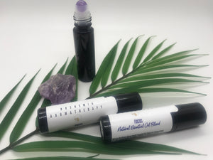 Focus Aromatherapy Essential Oil Blend With Genuine Amethyst Gemstone Rollerball