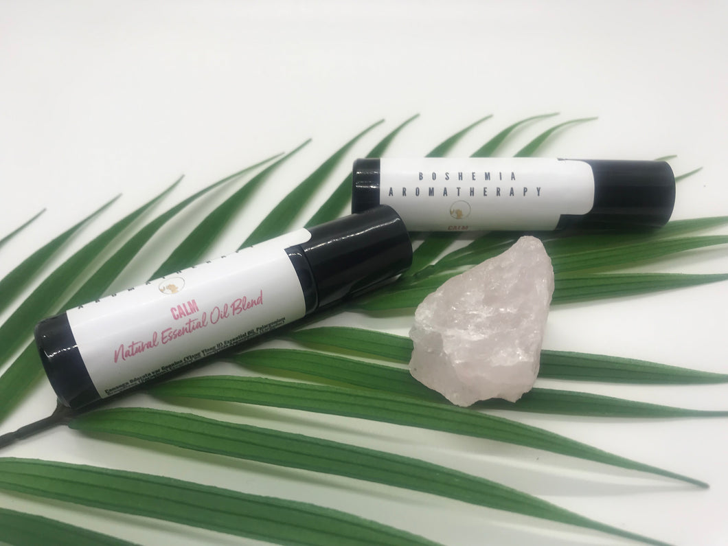 Calm Aromatherapy Essential Oils With A Pink Quartz Gemstone Rollerball